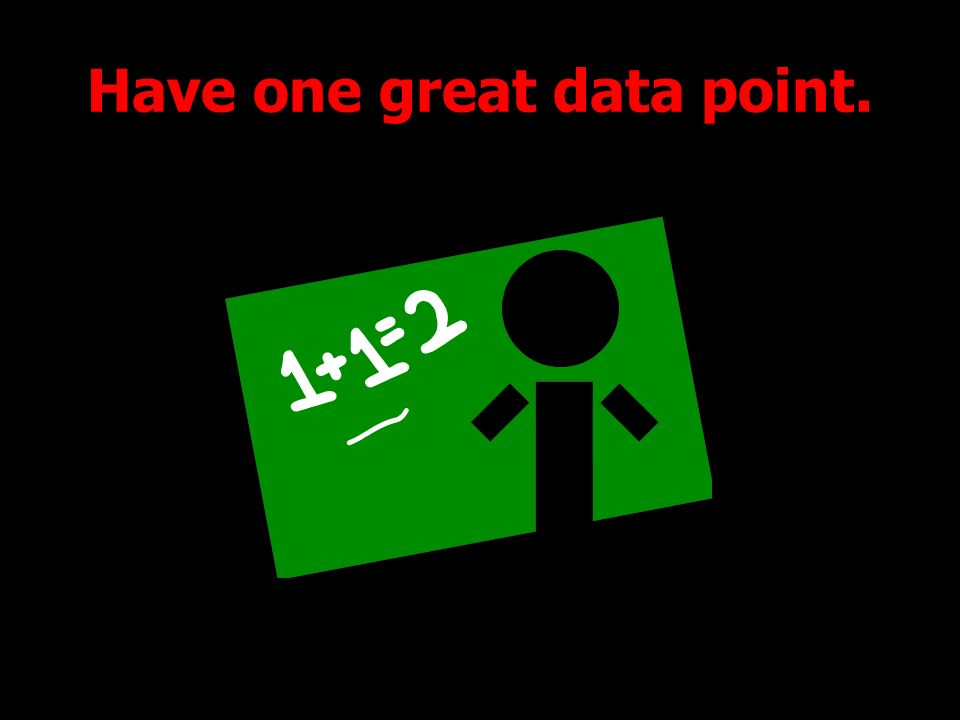 Have one great data point.