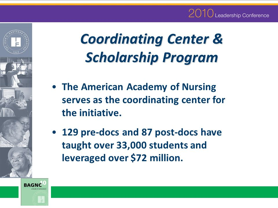 Coordinating Center & Scholarship Program The American Academy of Nursing serves as the coordinating center for the initiative. 129 pre-docs and 87 po