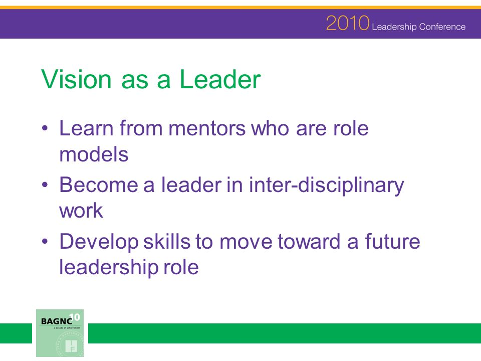 Vision as a Leader Learn from mentors who are role models Become a leader in inter-disciplinary work Develop skills to move toward a future leadership role
