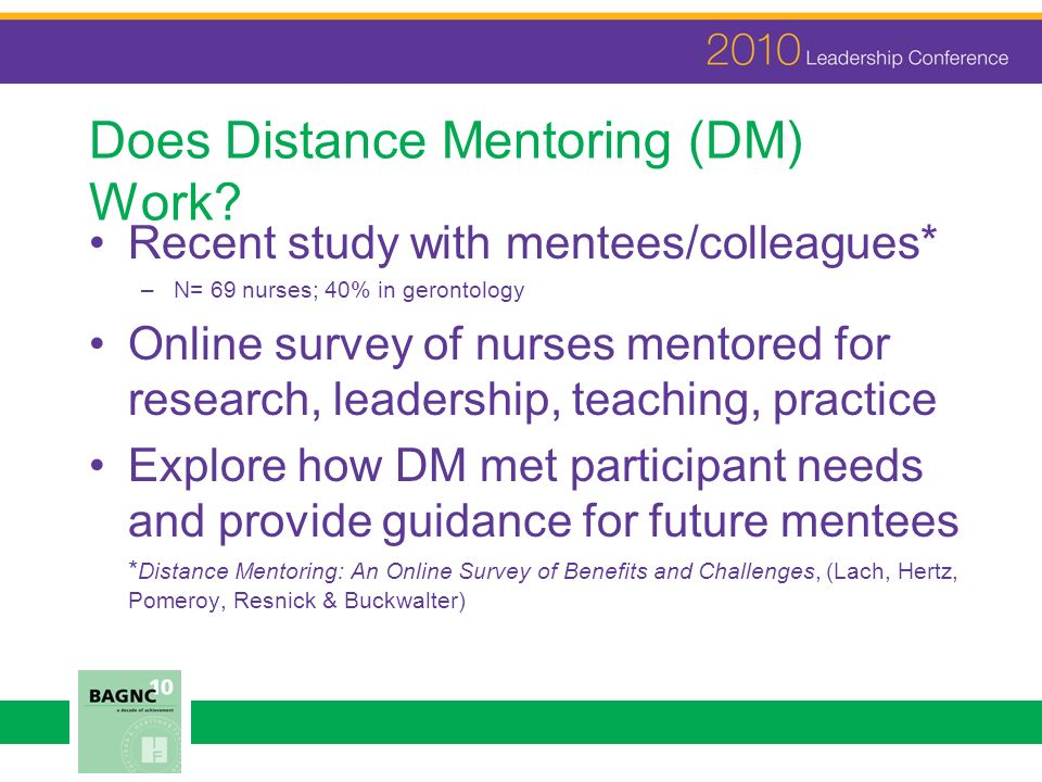 Does Distance Mentoring (DM) Work.