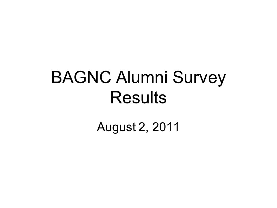 BAGNC Alumni Survey Results August 2, 2011