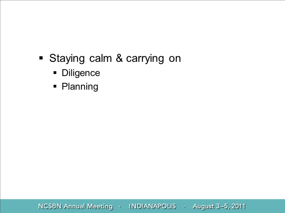 Staying calm & carrying on Diligence Planning