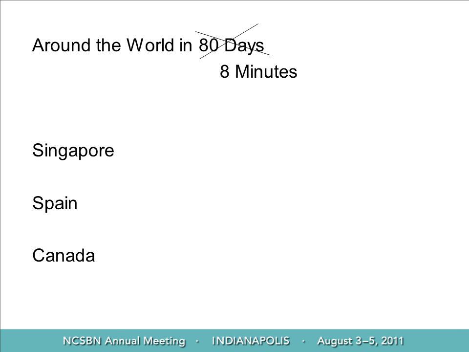 Around the World in 80 Days 8 Minutes Singapore Spain Canada
