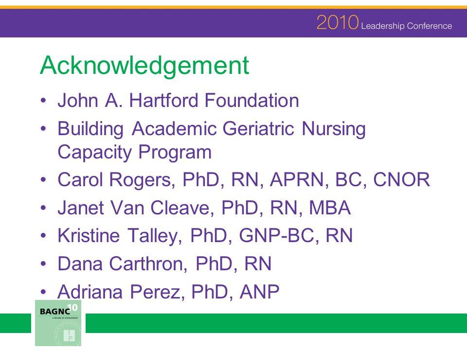 Acknowledgement John A. Hartford Foundation Building Academic Geriatric Nursing Capacity Program Carol Rogers, PhD, RN, APRN, BC, CNOR Janet Van Cleav