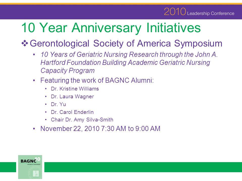 10 Year Anniversary Initiatives Gerontological Society of America Symposium 10 Years of Geriatric Nursing Research through the John A. Hartford Founda