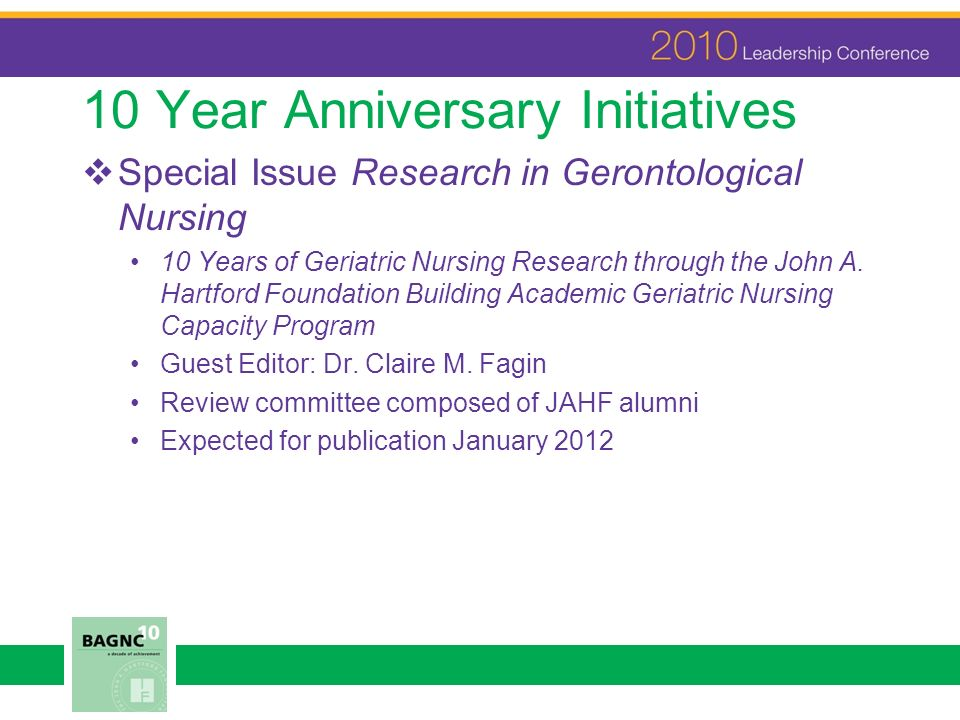 10 Year Anniversary Initiatives Special Issue Research in Gerontological Nursing 10 Years of Geriatric Nursing Research through the John A.