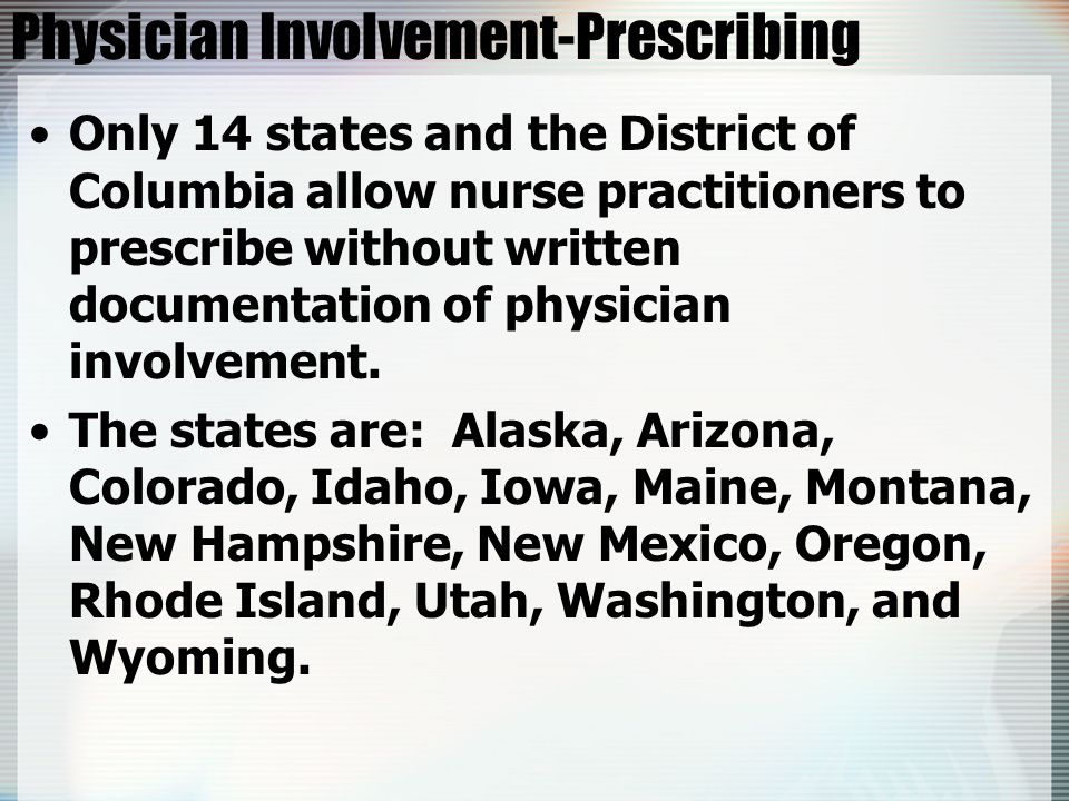 Physician Involvement-Prescribing Only 14 states and the District of Columbia allow nurse practitioners to prescribe without written documentation of