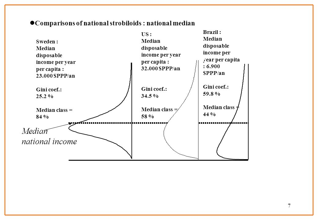 7 lComparisons of national strobiloids : national median Sweden : Median disposable income per year per capita : 23.000 $PPP/an Gini coef.: 25.2 % Median class = 84 % US : Median disposable income per year per capita : 32.000 $PPP/an Gini coef.: 34.5 % Median class = 58 % Brazil : Median disposable income per year per capita : 6.900 $PPP/an Gini coef.: 59.8 % Median class = 44 % Median national income