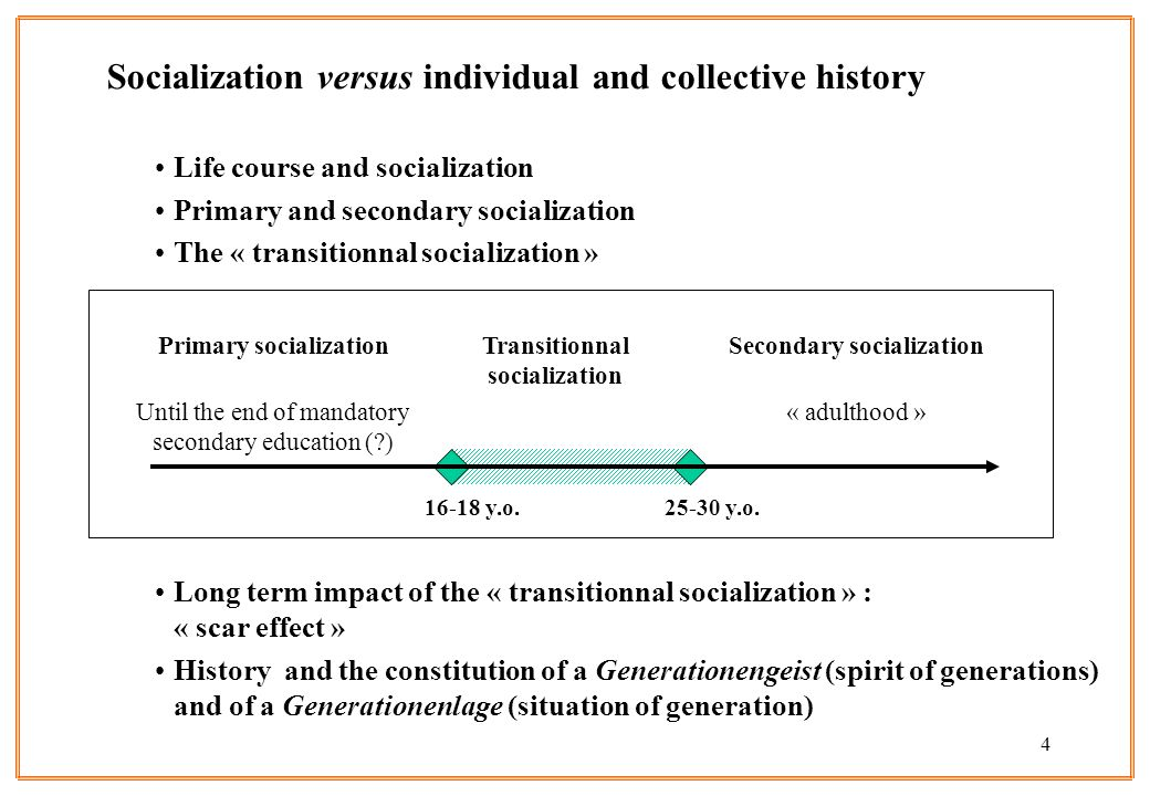 4 Socialization versus individual and collective history Life course and socialization Primary and secondary socialization The « transitionnal socialization » Long term impact of the « transitionnal socialization » : « scar effect » History and the constitution of a Generationengeist (spirit of generations) and of a Generationenlage (situation of generation) Primary socialization Until the end of mandatory secondary education ( ) Transitionnal socialization Secondary socialization « adulthood » y.o y.o.