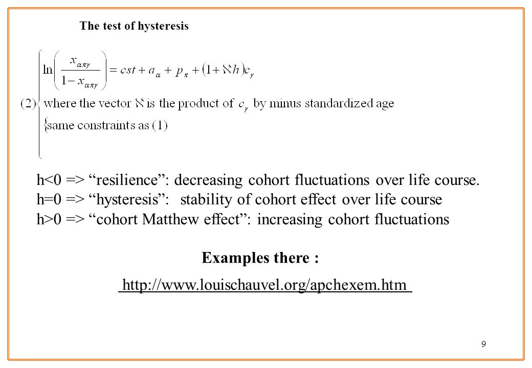 9 The test of hysteresis   Examples there : h resilience: decreasing cohort fluctuations over life course.