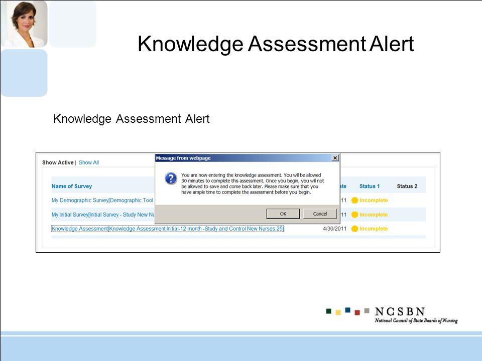 Knowledge Assessment Alert