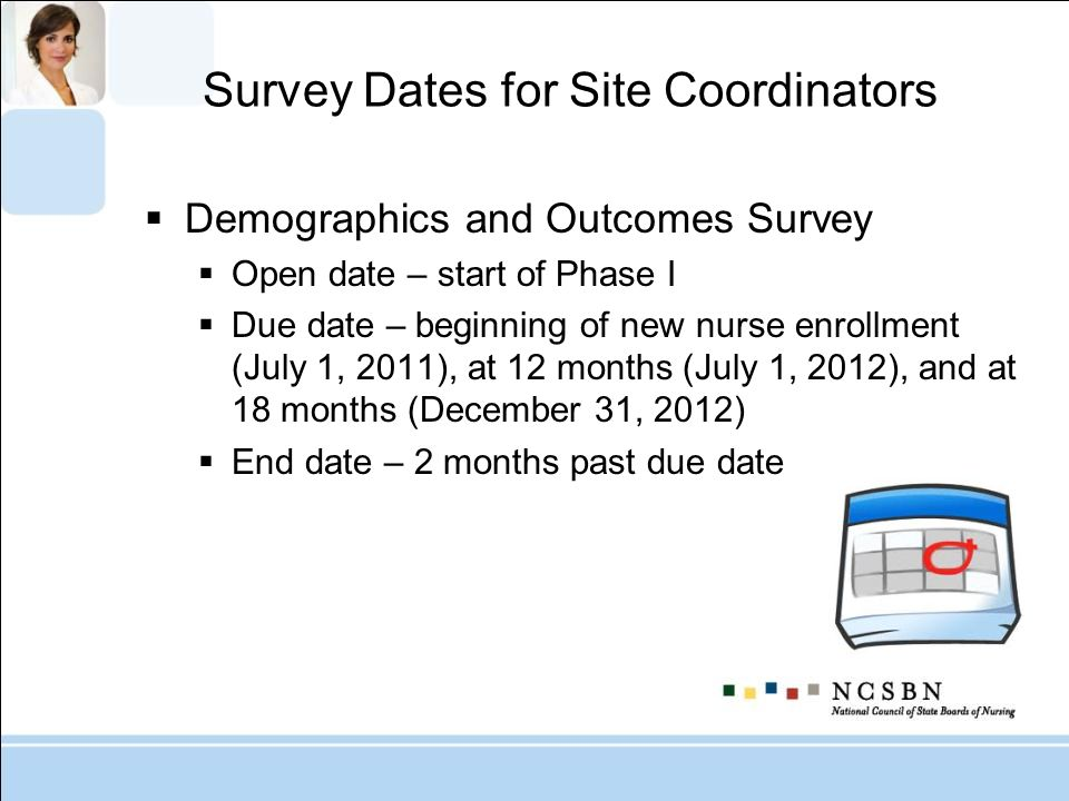 Survey Dates for Site Coordinators Demographics and Outcomes Survey Open date – start of Phase I Due date – beginning of new nurse enrollment (July 1, 2011), at 12 months (July 1, 2012), and at 18 months (December 31, 2012) End date – 2 months past due date