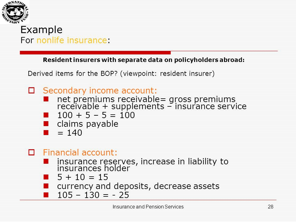 Example For nonlife insurance: (ii) Resident insurers with separate data on policyholders abroad for premiums only: Total insurance services (to residents and nonresidents combined)__50 Total premiums_________________________________________200 Of which: Premiums from residents____________________120 Premiums from nonresidents_______________________________80 Estimated insurance services provided to nonresidents, using a ratio____20 = 80 / (200) * 50 Exports of nonlife insurance services can be approximated by using ratios, according to the lines of business (reinsurance, term life, etc) The same pro-rating technique can be used for life insurance, pension funds, and standardized guarantees Premium supplements and claim volatility should be taken into account 29Insurance and Pension Services