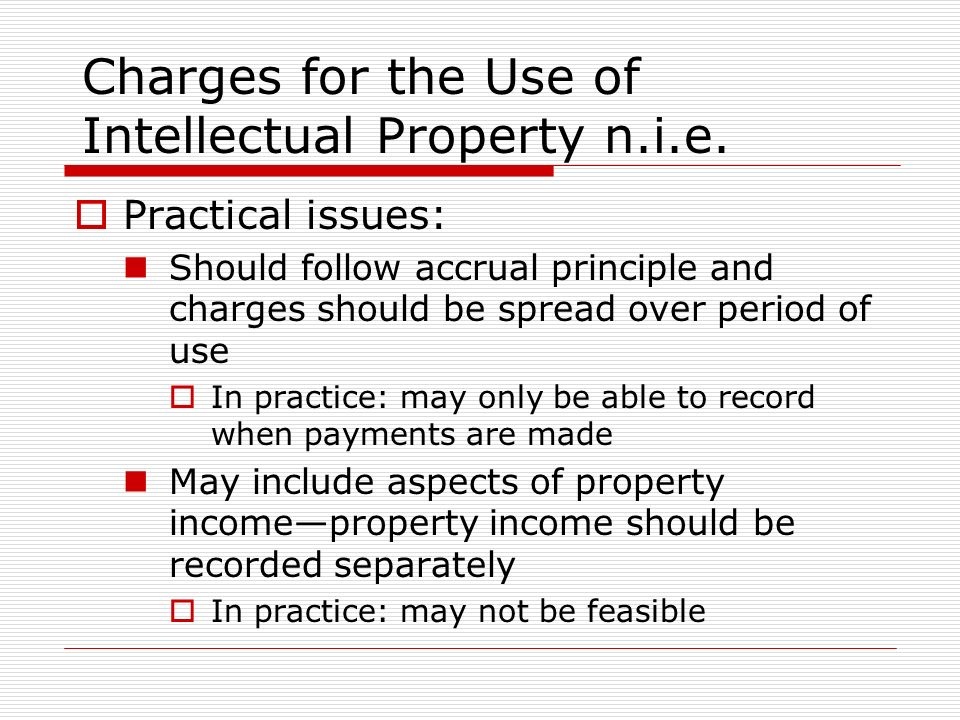 Charges for the Use of Intellectual Property n.i.e.