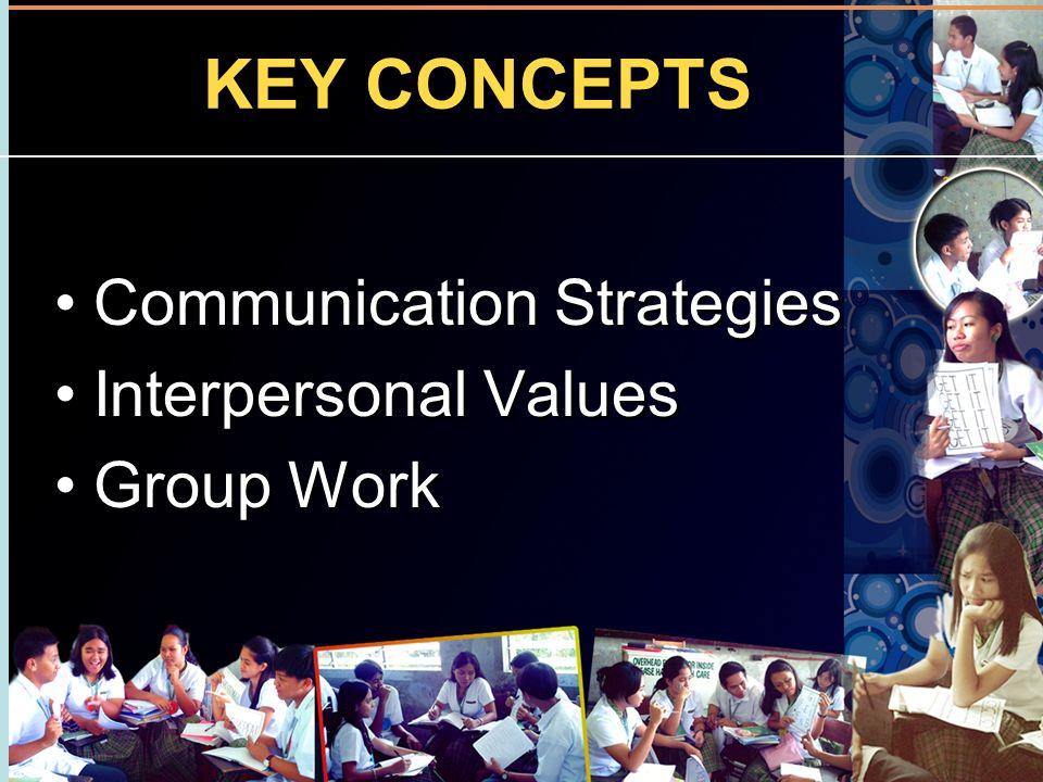 KEY CONCEPTS Communication Strategies Interpersonal Values Group Work Communication Strategies Interpersonal Values Group Work