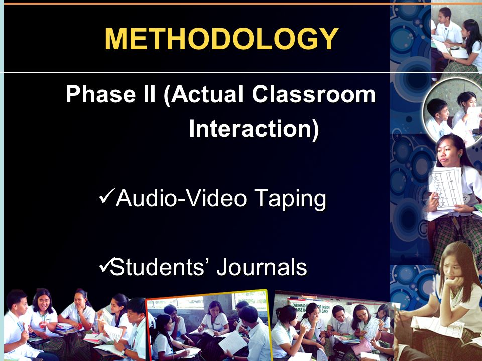 METHODOLOGY Phase II (Actual Classroom Interaction) Audio-Video Taping Students Journals Phase II (Actual Classroom Interaction) Audio-Video Taping St