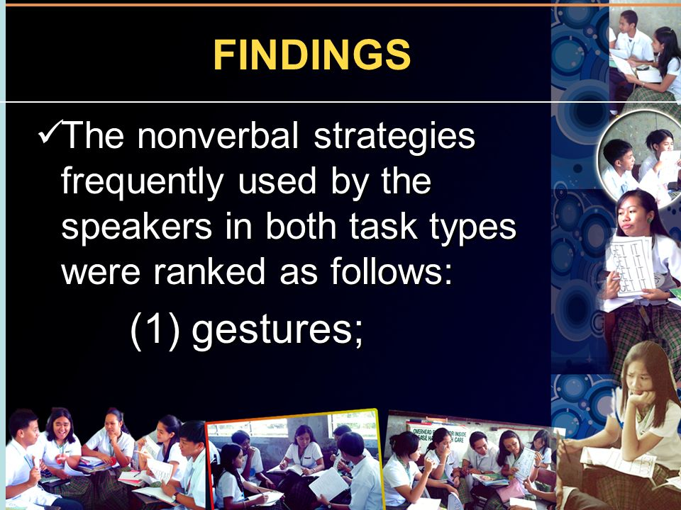 FINDINGS The nonverbal strategies frequently used by the speakers in both task types were ranked as follows: (1) gestures; The nonverbal strategies fr