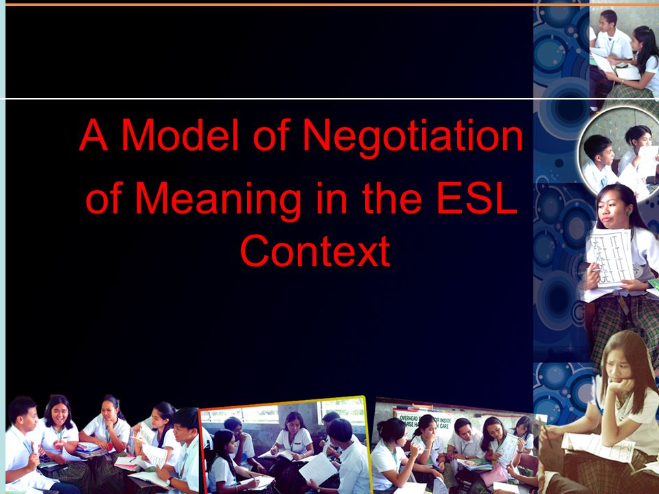 A Model of Negotiation of Meaning in the ESL Context A Model of Negotiation of Meaning in the ESL Context