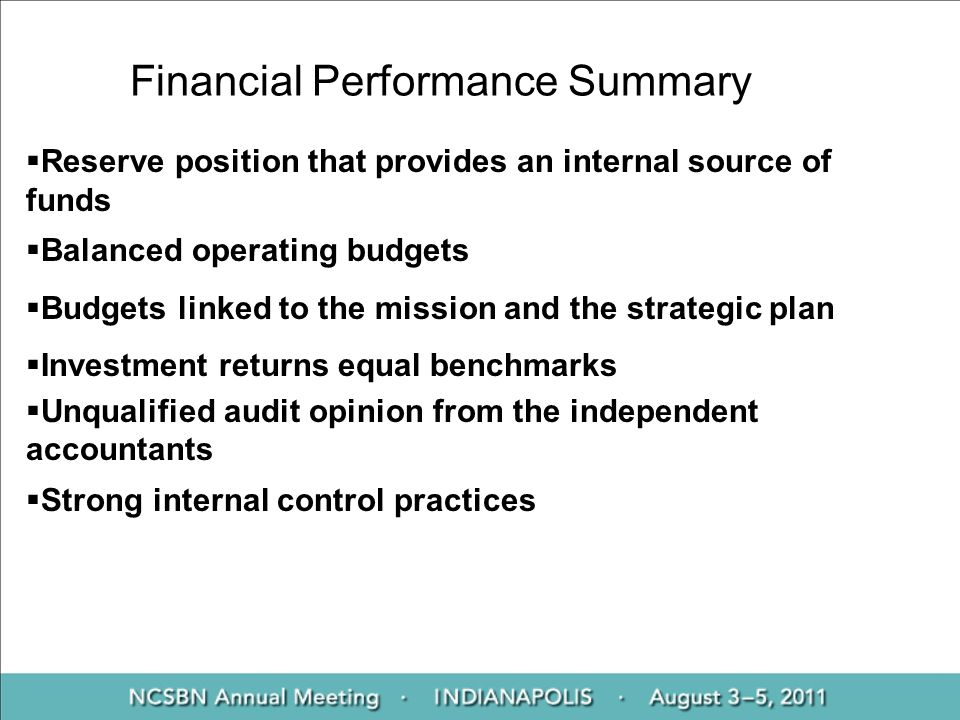 Financial Performance Summary Reserve position that provides an internal source of funds Balanced operating budgets Budgets linked to the mission and the strategic plan Investment returns equal benchmarks Unqualified audit opinion from the independent accountants Strong internal control practices