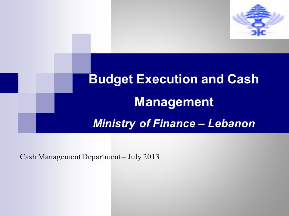 Budget Execution and Cash Management Ministry of Finance – Lebanon Cash Management Department – July 2013