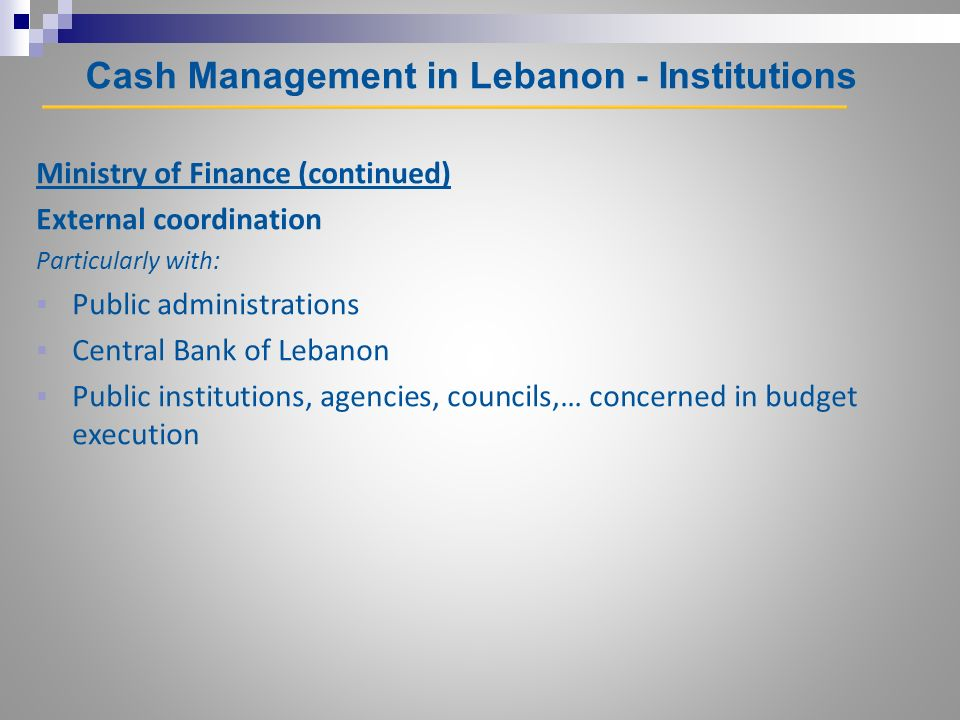 Cash Management in Lebanon - Institutions Ministry of Finance (continued) External coordination Particularly with: Public administrations Central Bank of Lebanon Public institutions, agencies, councils,… concerned in budget execution