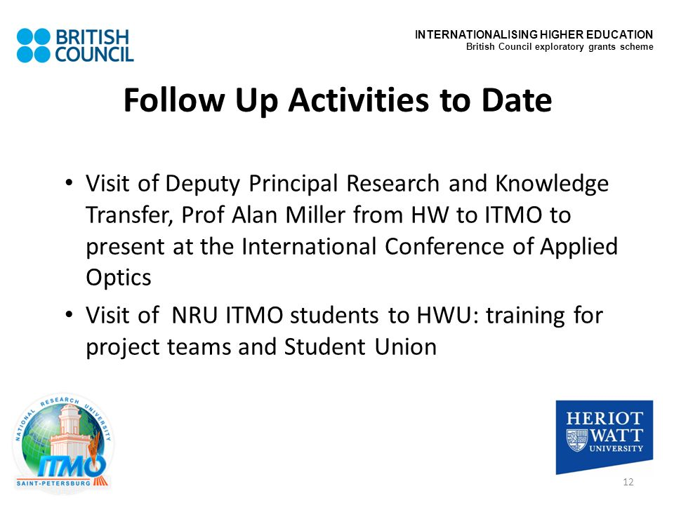 Follow Up Activities to Date Visit of Deputy Principal Research and Knowledge Transfer, Prof Alan Miller from HW to ITMO to present at the Internation