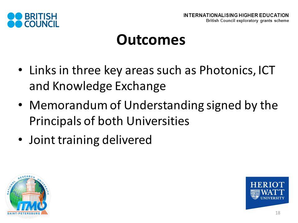 Outcomes Links in three key areas such as Photonics, ICT and Knowledge Exchange Memorandum of Understanding signed by the Principals of both Universit