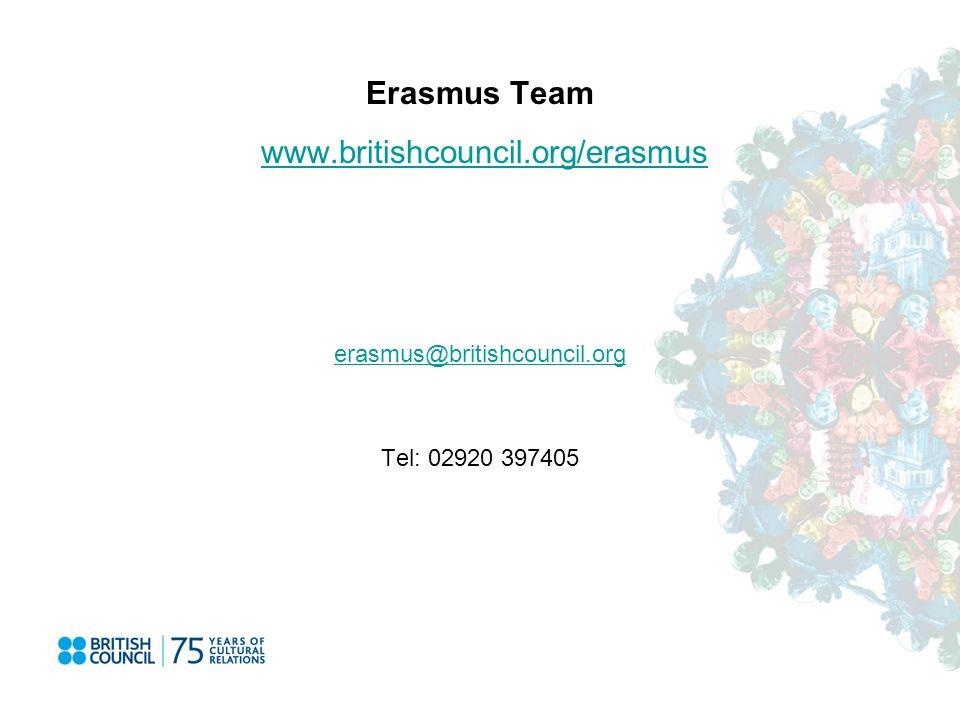 Erasmus Team www.britishcouncil.org/erasmuswww.britishcouncil.org/erasmus erasmus@britishcouncil.org Tel: 02920 397405