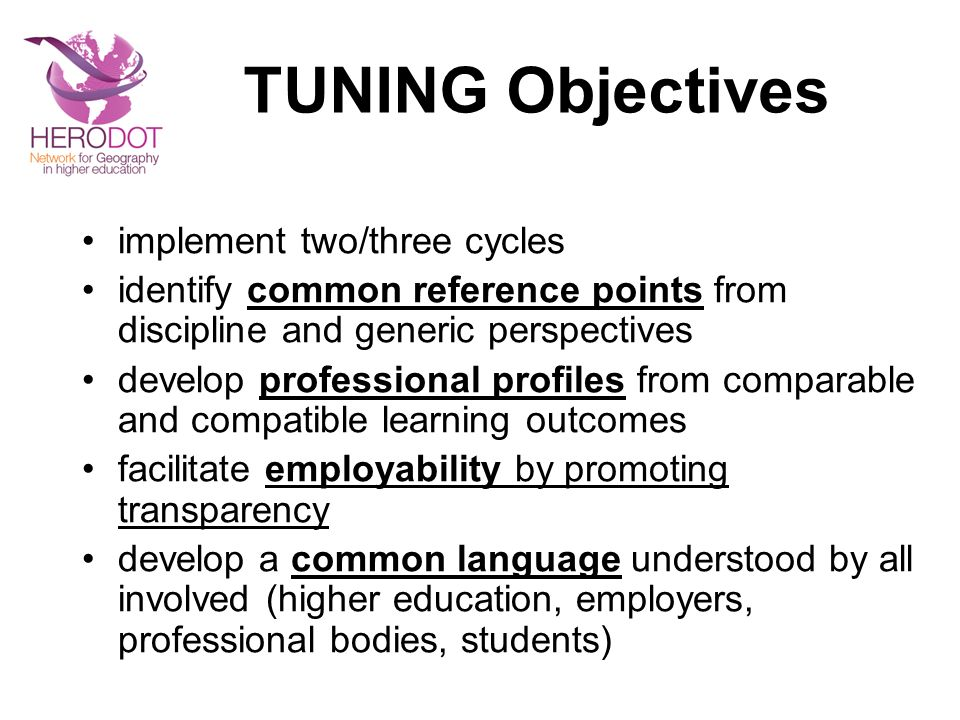 TUNING Objectives implement two/three cycles identify common reference points from discipline and generic perspectives develop professional profiles f