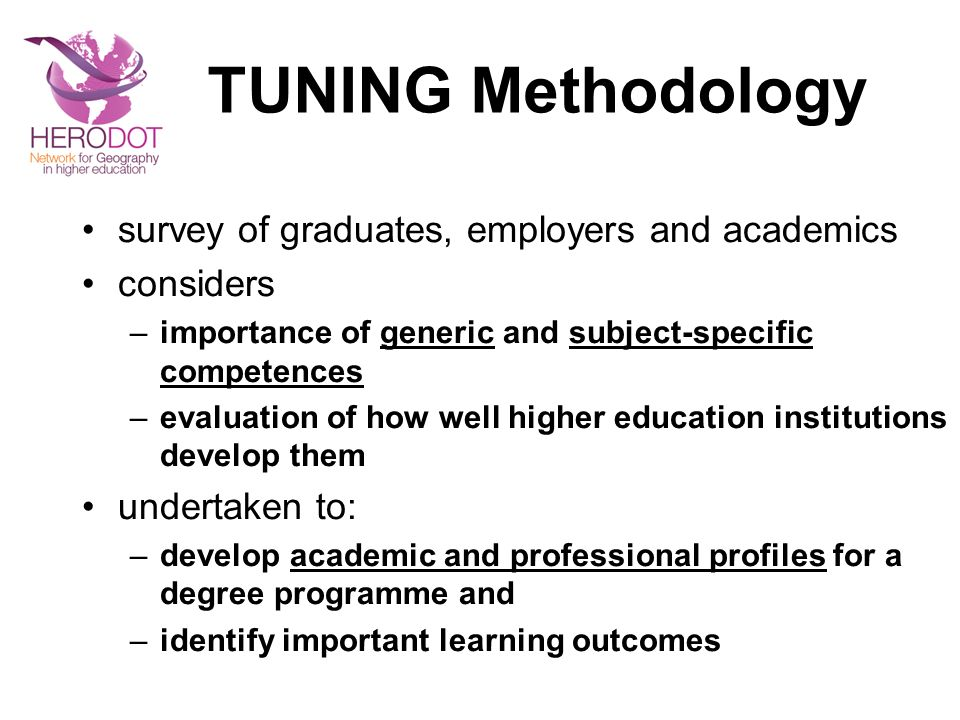TUNING Methodology survey of graduates, employers and academics considers –importance of generic and subject-specific competences –evaluation of how w