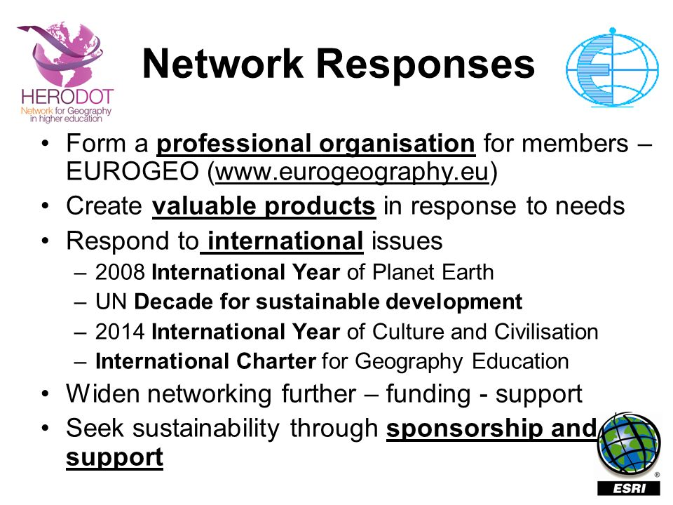 Network Responses Form a professional organisation for members – EUROGEO (www.eurogeography.eu) Create valuable products in response to needs Respond