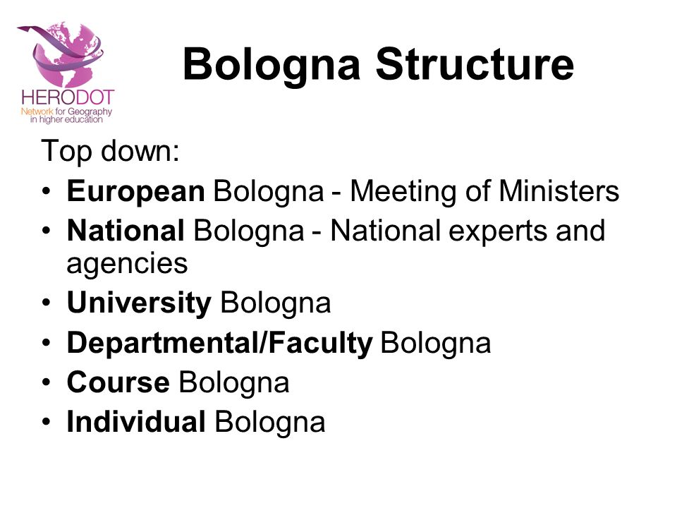 Bologna Structure Top down: European Bologna - Meeting of Ministers National Bologna - National experts and agencies University Bologna Departmental/F