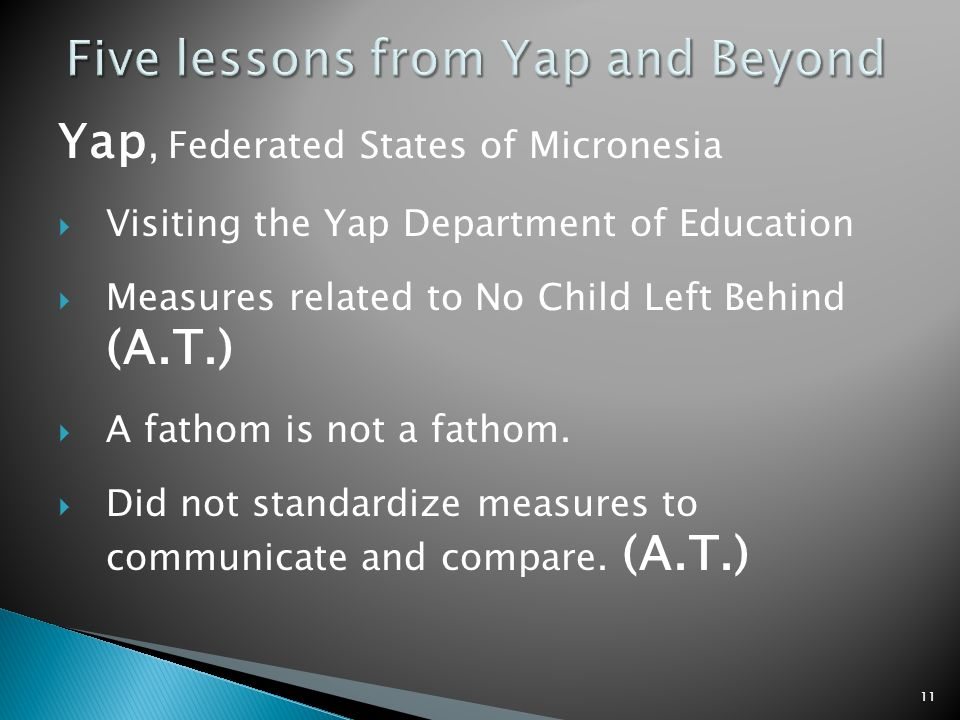 Yap, Federated States of Micronesia Visiting the Yap Department of Education Measures related to No Child Left Behind (A.T.) A fathom is not a fathom.