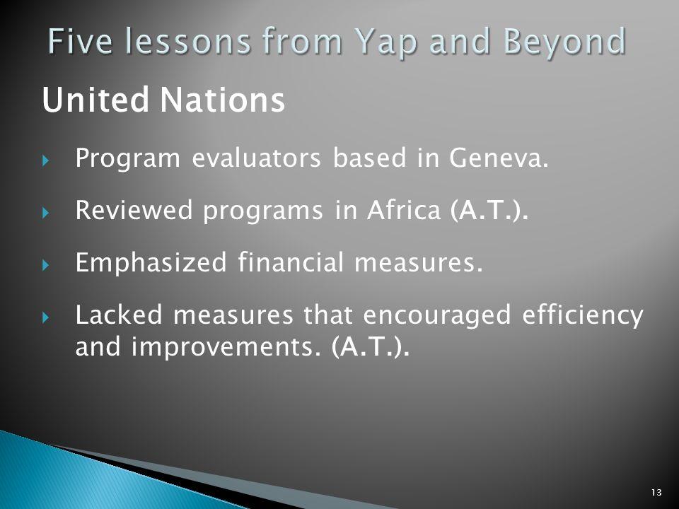 United Nations Program evaluators based in Geneva.