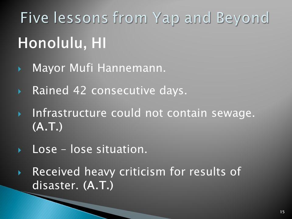 Honolulu, HI Mayor Mufi Hannemann. Rained 42 consecutive days.
