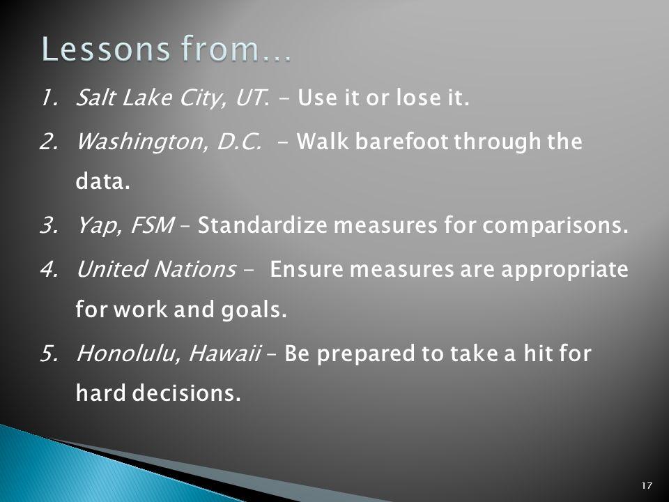 1.Salt Lake City, UT. - Use it or lose it. 2.Washington, D.C.