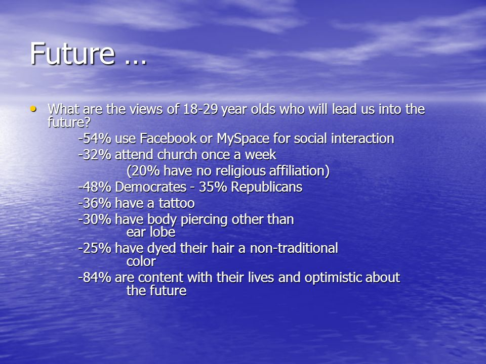 Future … What are the views of 18-29 year olds who will lead us into the future.