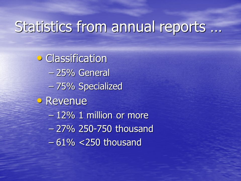 Statistics from annual reports … Classification Classification –25% General –75% Specialized Revenue Revenue –12% 1 million or more –27% 250-750 thousand –61% <250 thousand