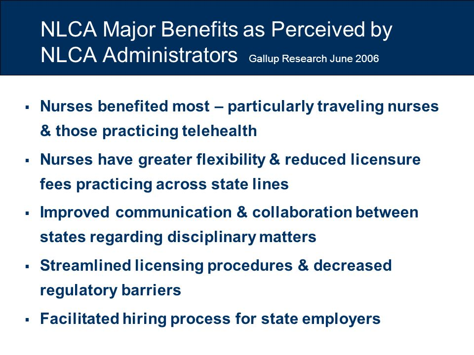 NLCA Major Benefits as Perceived by NLCA Administrators Gallup Research June 2006 Nurses benefited most – particularly traveling nurses & those practi
