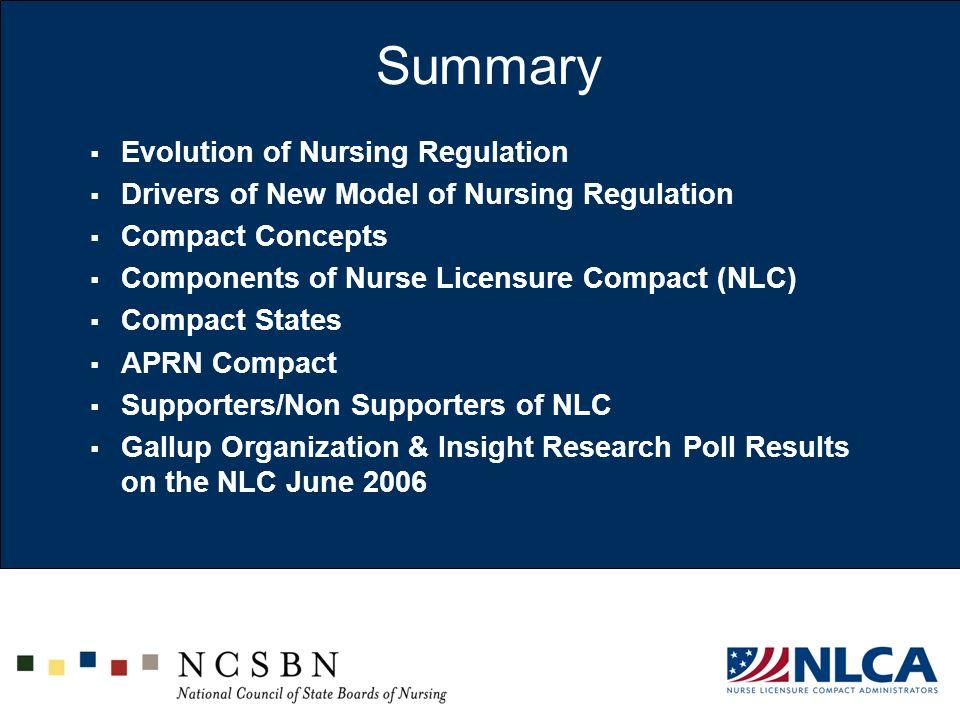 Summary Evolution of Nursing Regulation Drivers of New Model of Nursing Regulation Compact Concepts Components of Nurse Licensure Compact (NLC) Compac
