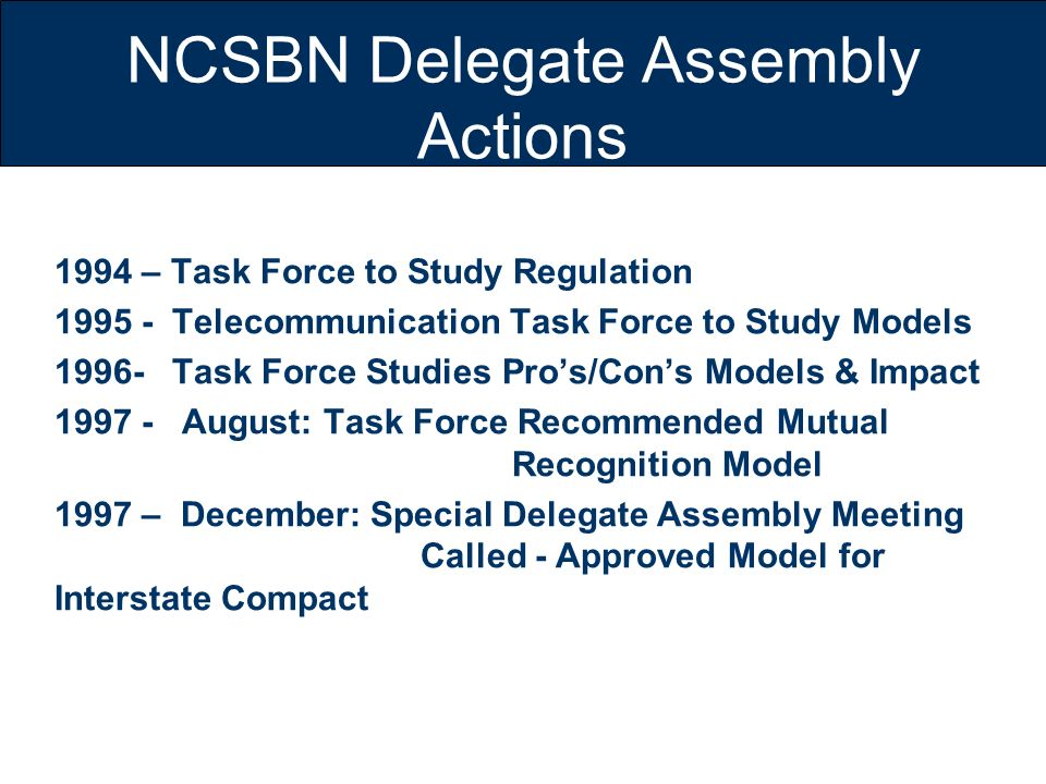 NCSBN Delegate Assembly Actions 1994 – Task Force to Study Regulation 1995 - Telecommunication Task Force to Study Models 1996- Task Force Studies Pro