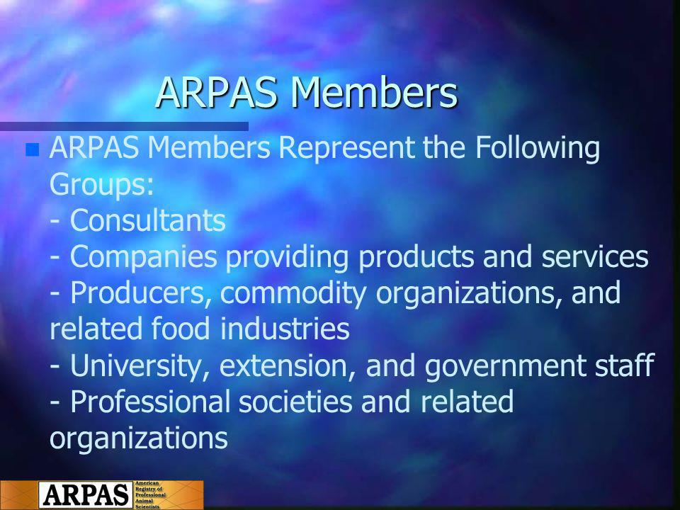 ARPAS Members n n ARPAS Members Represent the Following Groups: - Consultants - Companies providing products and services - Producers, commodity organizations, and related food industries - University, extension, and government staff - Professional societies and related organizations