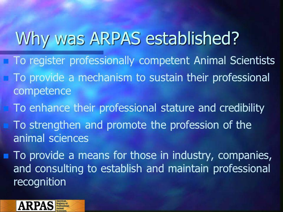 Why was ARPAS established.