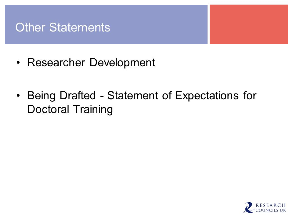 Other Statements Researcher Development Being Drafted - Statement of Expectations for Doctoral Training