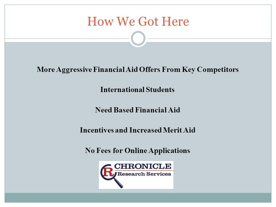 How We Got Here More Aggressive Financial Aid Offers From Key Competitors International Students Need Based Financial Aid Incentives and Increased Merit Aid No Fees for Online Applications