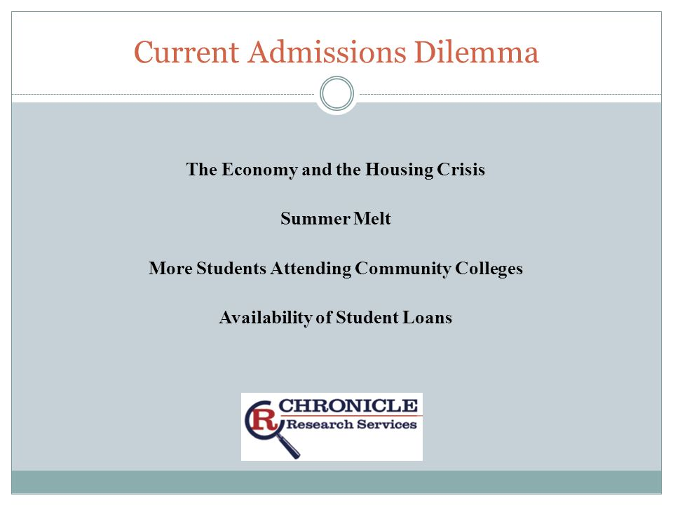 Current Admissions Dilemma The Economy and the Housing Crisis Summer Melt More Students Attending Community Colleges Availability of Student Loans
