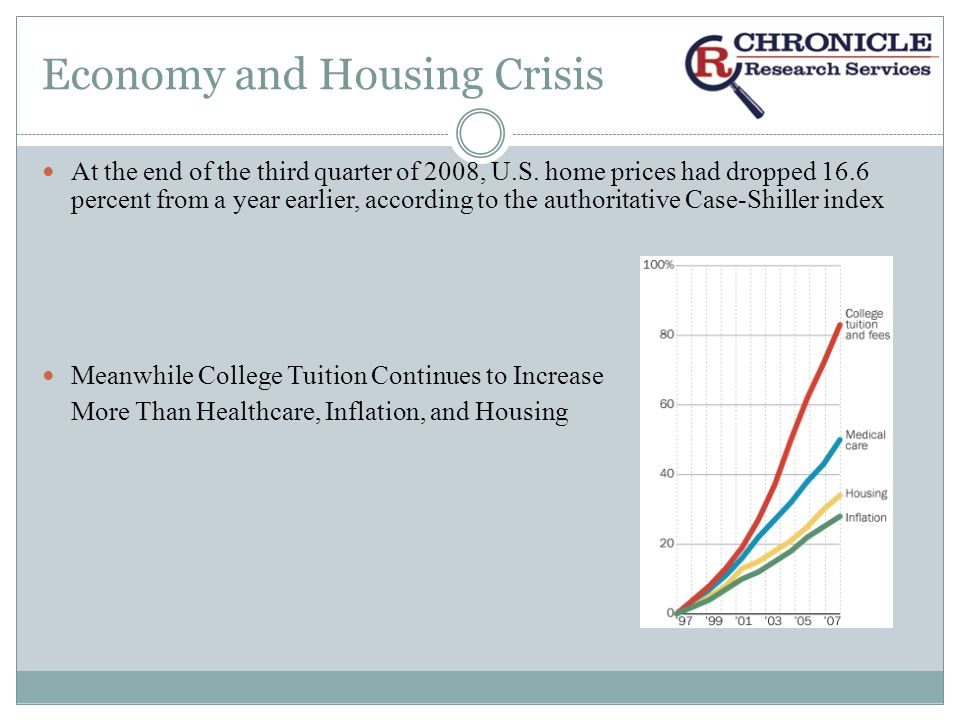 Economy and Housing Crisis At the end of the third quarter of 2008, U.S.