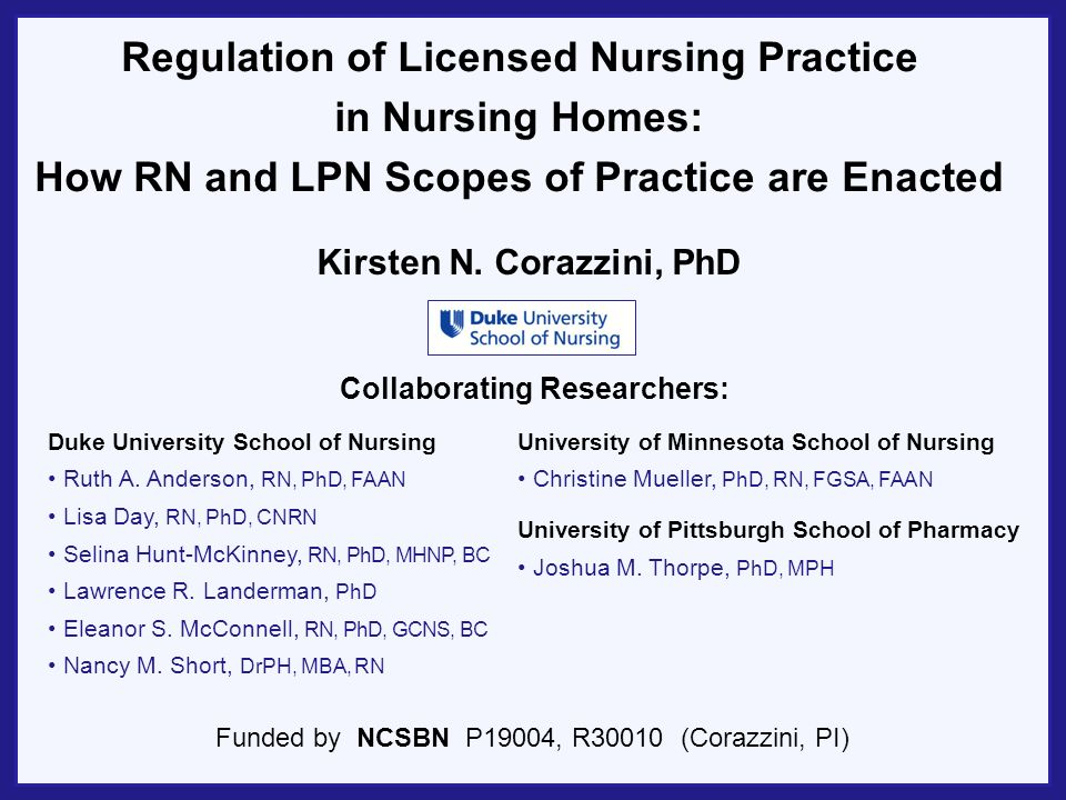 Changing Nature of LPN Practice in Residential Long-term Care LPN s as licensed nursing backbone Changing context of residential long-term care Over the last decade, increase in hours per patient day was twice as high for LPNs as for RNs (AHCA, 2012) LPNs comprise majority of licensed nurses in long-term care; U.S.