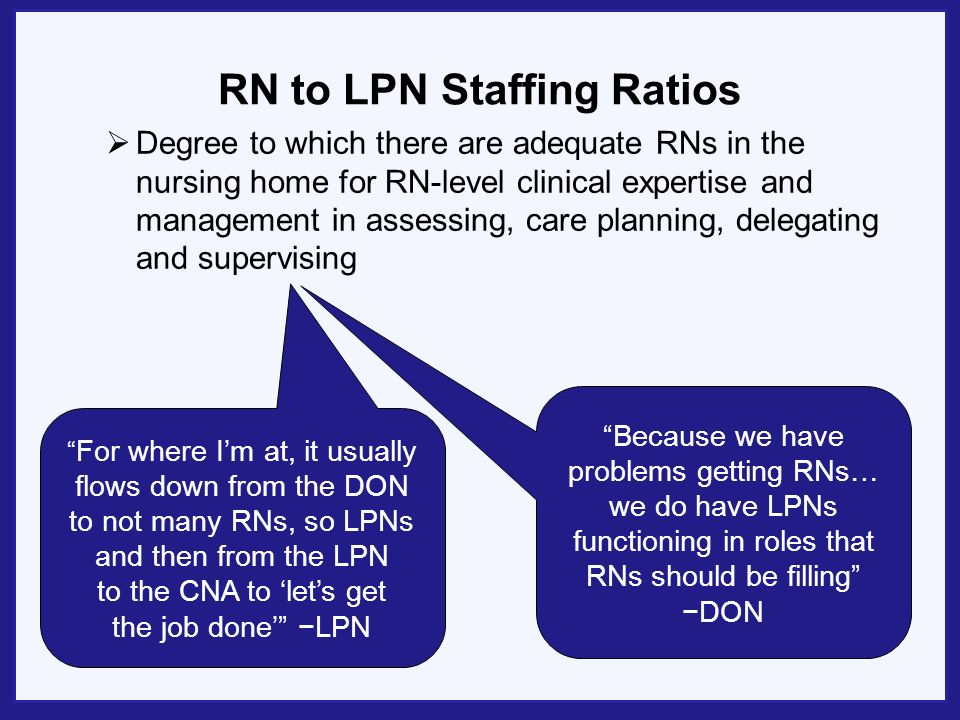 RN to LPN Staffing Ratios Degree to which there are adequate RNs in the nursing home for RN-level clinical expertise and management in assessing, care planning, delegating and supervising Because we have problems getting RNs… we do have LPNs functioning in roles that RNs should be filling DON For where Im at, it usually flows down from the DON to not many RNs, so LPNs and then from the LPN to the CNA to lets get the job done LPN