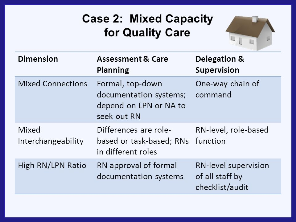 Case 2: Mixed Capacity for Quality Care DimensionAssessment & Care Planning Delegation & Supervision Mixed ConnectionsFormal, top-down documentation s
